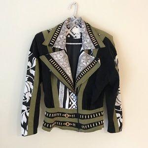Cache 80s 90s Moto Bomber Zip Floral Jacket